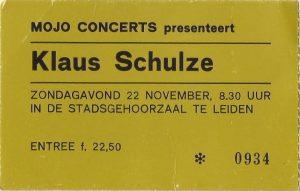 Toegangskaartje Klaus Schulze in de Stadsgehoorzaal in Leiden (22-11-1981)