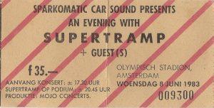 Toegangskaart Supertramp in het Olympisch stadion (8-5-1983)