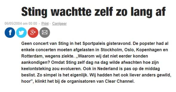 Sting in Ahoy (4-5-2004) (Ging niet door vanwege keelontsteking Sting)